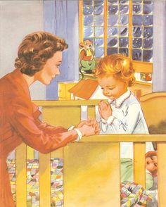 Vintage 1950s Childrens Print - Baby Says Prayers With Mother At Bedtime. Ideal for Framing.