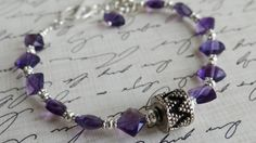 Handmade Natural Faceted Amethyst Bracelet by AngelWearDesigns2013