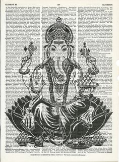 Ganesha Lord of Wisdom Print on  Upcycle  Page Book Print Art Print Dictionary Print Collage Print by SheriDictionaryPrint on Etsy