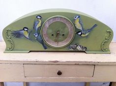 Great Tits - Acryl On Wooden Pendulum Clock
