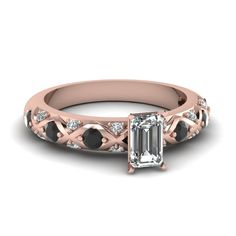 Shop emerald cut diamond engagement ring with black gemstone in 14K rose gold at Fascinating Diamonds. This Affordable Engagement Rings can be customized as per your desire.