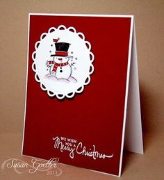 Snowman is an Inkadinkado stamp, sentiment from PTI.