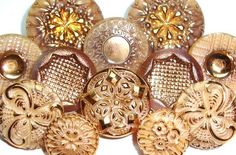 vintage buttons ~ taupe, cream, tan, gold, ornate
