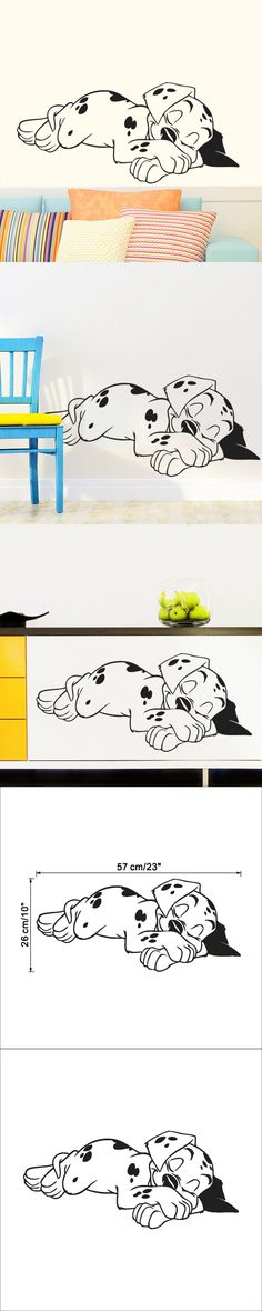 Free shipping cartoon Sleeping puppy vinyl wall stickers for kids room living room cute dog baseboard wall stickers home decor $2.99