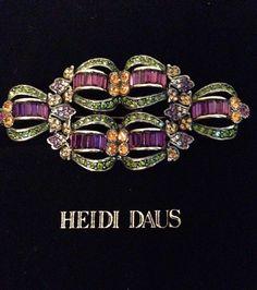 HEIDI DAUS Purple & Green ART DECO SWIRL Pin Brooch SWAROVSKI CRYSTALS #HeidiDaus