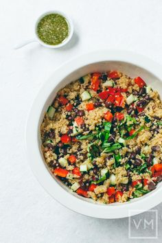 Vegan Quick Quinoa & Black Bean Salad with Spicy Cilantro Vinaigrette ...
