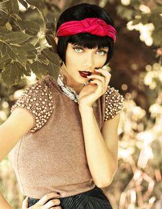 Pearl short-sleeve sweater over steel grey skirt, magenta headband, burgundy lips nails. Mind blown! via Crush Cul de Sac