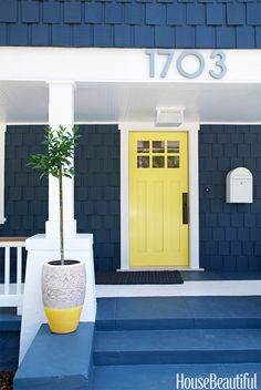 """""""It wanted to lighten up a dark, modest Craftsman house with a pop of yellow on the front door. Yellows can often be too juvenile, too in-your-face, too much, but the little bit of lime in this one makes it more sophisticated. It's playful and happy, but not too Disney. Do it in high gloss for depth."""" —Tamara Kaye-Honey   - HouseBeautiful.com"""