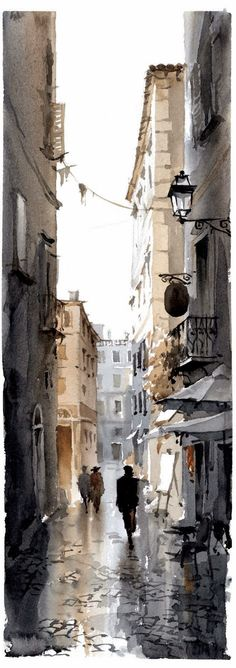 Igor Sava watercolor -Painting holiday Spain with Dalvaro Art Courses - Learn watercolor techniques with Igor Sava Watercolour Artist - Enjoy painting in Spain Workshop Igor Sava Art Aquarelle, Art Watercolor, Watercolor Landscape, Watercolor Portraits, Watercolor Architecture, Watercolour Illustration, Art Drawings, Drawing Portraits, Love Art