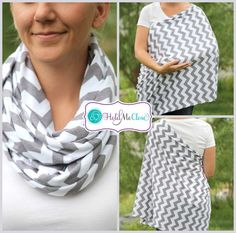 SALE Hold Me Close Nursing Scarf - Gray Chevron, Nursing Cover, Infinity Scarf