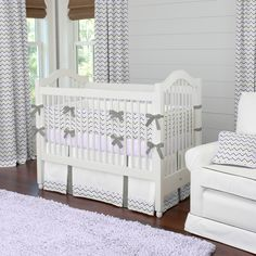 Lilac and Slate Gray Chevron Crib Bedding | Baby Bedding for #babygirl | #CarouselDesigns
