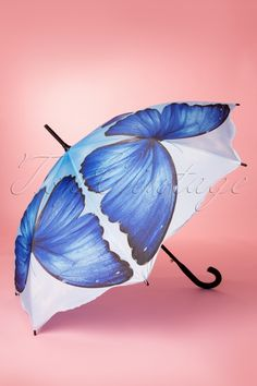 So Rainy - 50s Vintage Blue Butterfly Umbrella