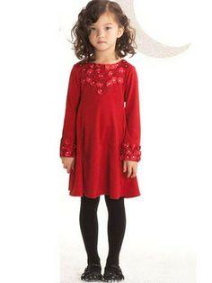 888eb8350b690 Biscotti Red Falling For Dots Little Girls Dress Long sleeve jersey dress,  little girls sizes