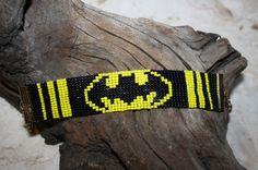 Batman woven loom pixel beaded bracelet | We Heart It