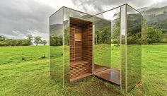 The Lookout by Processcraft  Angus Ritchie and Daniel Tyler designed and built a mirrored lookout that reflects the lochs and glens of Loch Lomond and Trossachs National Park in Scotland.   http://www.azuremagazine.com/article/2015-design-trends-mirror-images/