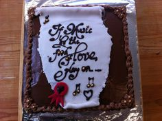 """""""If music be the food of love, play on""""...celebration Shakespeare cake for a special performance of Twelfth Night."""