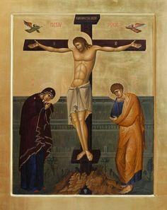 Crucifixion of the Lord Byzantine orthodox icon egg tempera Jesus Resurrection, Jesus Christ, John Chrysostom, Religion, Holy Quotes, Byzantine Icons, Holy Cross, Religious Icons, Orthodox Icons