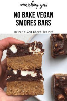 No Bake Vegan Smores Bars | Nourishing Yas - Simple Plant based Recipes  #veganrecipes #healthyrecipes #vegandesserts #nobakedesserts #vegansmores #smores #smoresbars #dairyfreedesserts #nobakebars #marshmallows