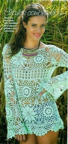 Free pattern. Easy to read charts and diagrams… Crochetemoda: Blusa de Crochet