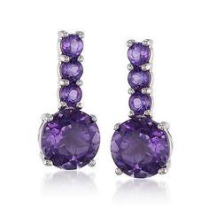 4.70 ct. t.w. Amethyst Drop Earrings In Sterling Silver