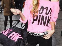 LOVE PINK Crewneck & LOVE PINK Black/White Yoga Pants.