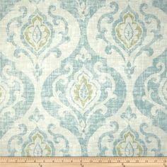 Screen printed on a cotton/linen blend; this medium/heavyweight fabric has a homespun weave and is perfect for window accents (draperies, valances, curtains and swags), accent pillows, duvet covers, upholstery and other home decor accents. Colors include light sage, aqua and off white.