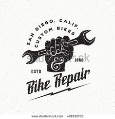 Vintage Labels Bike Repair Abstract Vintage Vector Sign, Label or Logo Template. Fist Holding Wrench with Retro Typography and Shabby Textures. Retro Design, Logo Design, Handyman Logo, San Diego, Lightning Logo, Bike Logo, Retro Typography, Vintage Bicycles, Shop Logo
