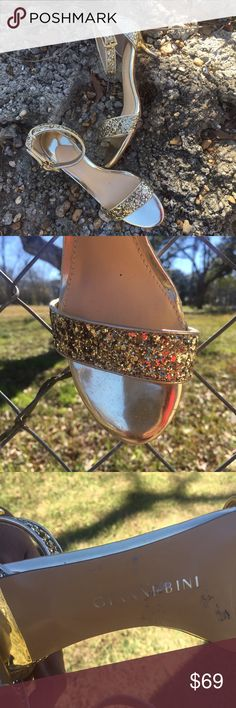 Gianni Bini gold glitter sandals Metallic kitten heels. See pic 4 for scratch in one heel. Otherwise excellent condition. Worn once. Gianni Bini Shoes Sandals