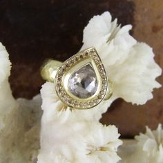 Beautiful cinnamon diamond pave set #HaloRing in 18ct yellow gold by Alexis Dove
