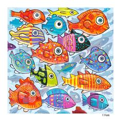 "Giclée Print on Canvas: ""Colorful Fish in the South South Sea"" - By artist FFrank- FishArtClick to see Detail views.#fish #art #painting #print #ffrank #colorful #colors #"