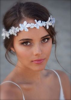 Crystal Bridal Floral Crown Seen here in Clear by DolorisPetunia, $450.00-so not this one but something like it would be pretty!! or maybe a lace headband!