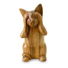 NOVICA Wood Cat Sculpture from Indonesia (60 CAD) ❤ liked on Polyvore featuring home, home decor, decor, statues, art gallery, brown, dogs & cats, filler, sculpture and wood - animal collection