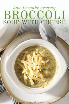 Easy Broccoli Cheddar Soup is the perfect dinner for a chilly evening! This creamy broccoli soup is easy to make and tastes incredible. #comfortfood #easyentertaining #speckledpalate Creamy Pasta Recipes, Soup Recipes, Vegan Recipes, Easy Broccoli Cheddar Soup, Y Recipe, Homemade Meatloaf, Cream Of Tomato Soup, Chicken Tortellini Soup, Vegetarian Comfort Food
