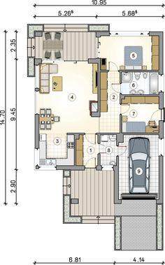 rzut parteru projektu Pelikan III SZ - projekt Pelikan III SZ House Layout Plans, Modern House Plans, House Layouts, House Floor Plans, Floor Plan Sketch, Architectural House Plans, Outdoor Oven, A Frame Cabin, Micro House