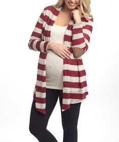 Another great find on #zulily! PinkBlush Burgundy Stripe Faux Suede Maternity Open Cardigan #zulilyfinds