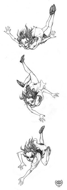 COSmic*Spectrum . Falling Pose Character Illustration Sketch / Drawing