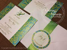 Invitación de Boda / Wedding Invitation Elaborada por Crema&Naranja. www.cremaynaranja.com