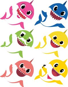 Baby Shark characters Party Prop, Cut-outs, kids characters Baby Hai, 2 Baby, Boy First Birthday, 2nd Birthday Parties, Shark Family, Cute Fish, Shark Party, Kid Character, Party Props