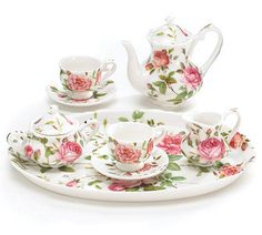 Saddlebrooke Pink Roses Girl's Miniature Tea Set