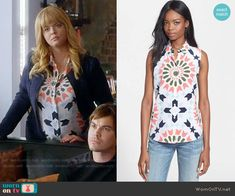 Ali's geometric print top on Pretty Little Liars Pll Outfits, Tv Show Outfits, Fashion Outfits, Fashion Ideas, Pretty Little Liars Fashion, Silk Top, Glamour, My Outfit, Sasha Pieterse