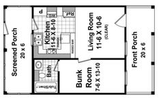 Small House Plan. pretty good plan. nice and small. screened poch is a bright idea too - if it is covered could keep that space open and use it for yoga/ exercise