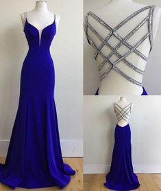 Blue v neck sequin long prom dress, unique blue evening dress