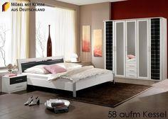 Schlafzimmer Möbel komplett Weiß Schwarz 3636. Buy now at https://www.moebel-wohnbar.de/schlafzimmer-moebel-komplett-weiss-schwarz-3636.html