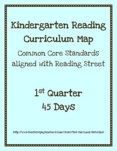 Kindergarten Reading Curriculum Map - Common Core aligned with Scott Foresman Reading Street series