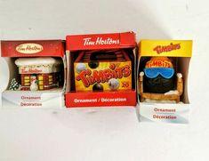 Tim Hortons Ornaments Lot 3 Coffee Shop Timbits and Ski Goggles #TimHortons Canada Christmas, Christmas Snowman, Christmas Tree Ornaments, Xmas, Coffee Shop, Coffee Cups, Tim Hortons Coffee, Bit Box, Coffee Sacks
