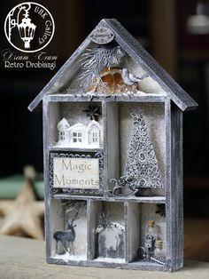 - Retro Clocks - Craft Workshop - decoupage and scrapbooking Christmas shadow box.