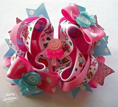 Christmas Candy Hand Made Twisted Boutique Hair Bow TBB