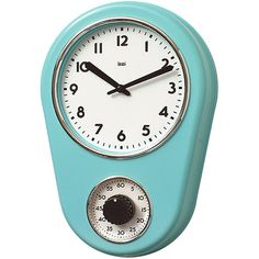 Off Retro Turquoise Kitchen Timer Wall Clock by Bai Design. @ Spray painted ABS bezel with Chrome finished accents @ Spray painted metal hands @ Build in one hour timer for cooking @ Assembly not required @ Manufactured in China Retro Kitchen Clocks, Kitchen Wall Clocks, Retro Clock, Retro Kitchens, Kitchen Rug, Clock Wall, Ivory Kitchen, Red Kitchen, Kitchen Things