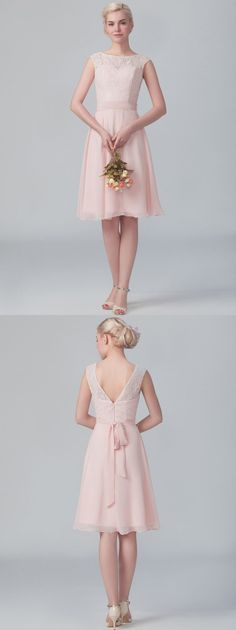 Trendy Sleeveless Bateau Neck Knee Length Pearl Pink Chiffon Bridesmaid Dress with Ribbon