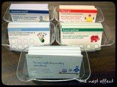 Love this idea of using Vista Print business cards as classroom rewards/punch cards!!